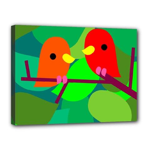 Animals Birds Red Orange Green Leaf Tree Canvas 16  x 12