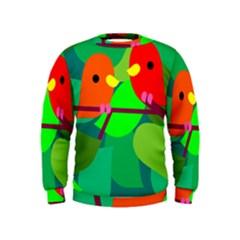 Animals Birds Red Orange Green Leaf Tree Kids  Sweatshirt