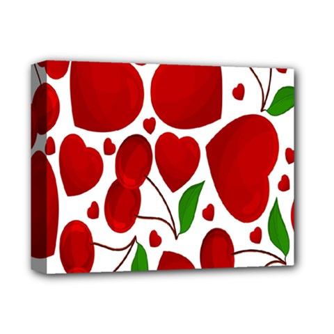 Cherry Fruit Red Love Heart Valentine Green Deluxe Canvas 14  x 11