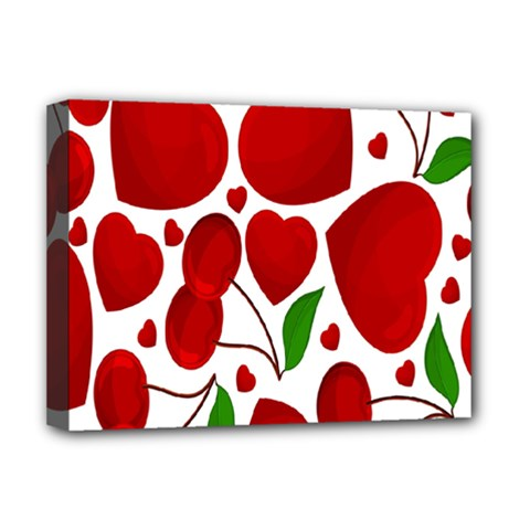 Cherry Fruit Red Love Heart Valentine Green Deluxe Canvas 16  x 12