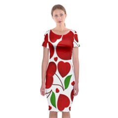 Cherry Fruit Red Love Heart Valentine Green Classic Short Sleeve Midi Dress