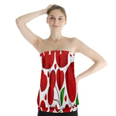 Cherry Fruit Red Love Heart Valentine Green Strapless Top
