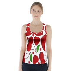 Cherry Fruit Red Love Heart Valentine Green Racer Back Sports Top
