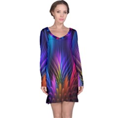 Bird Feathers Rainbow Color Pink Purple Blue Orange Gold Long Sleeve Nightdress