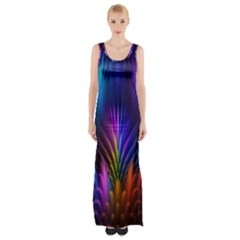 Bird Feathers Rainbow Color Pink Purple Blue Orange Gold Maxi Thigh Split Dress