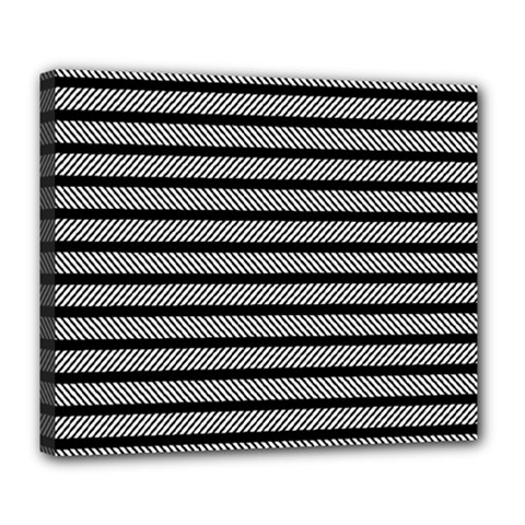 Black White Line Fabric Deluxe Canvas 24  x 20