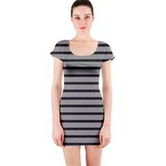 Black White Line Fabric Short Sleeve Bodycon Dress