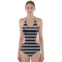 Black White Line Fabric Cut-Out One Piece Swimsuit