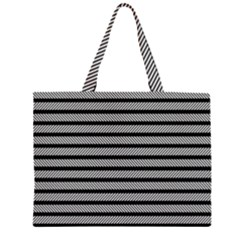 Black White Line Fabric Large Tote Bag