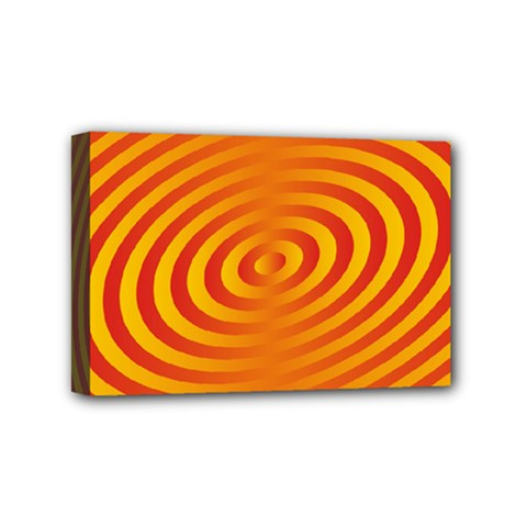 Circle Line Orange Hole Hypnotism Mini Canvas 6  x 4