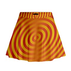 Circle Line Orange Hole Hypnotism Mini Flare Skirt