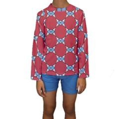 Circle Blue Purple Big Small Kids  Long Sleeve Swimwear