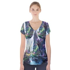 Fantastic World Fantasy Painting Short Sleeve Front Detail Top