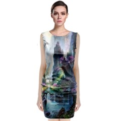 Fantastic World Fantasy Painting Sleeveless Velvet Midi Dress