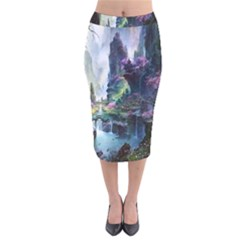 Fantastic World Fantasy Painting Velvet Midi Pencil Skirt