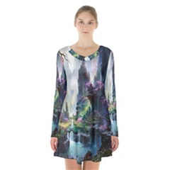 Fantastic World Fantasy Painting Long Sleeve Velvet V Neck Dress