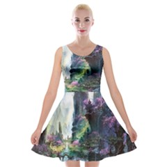Fantastic World Fantasy Painting Velvet Skater Dress