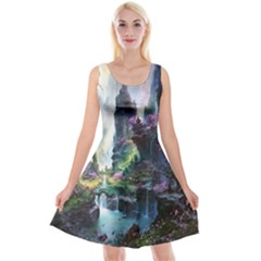 Fantastic World Fantasy Painting Reversible Velvet Sleeveless Dress