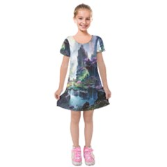 Fantastic World Fantasy Painting Kids  Short Sleeve Velvet Dress