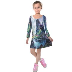 Fantastic World Fantasy Painting Kids  Long Sleeve Velvet Dress