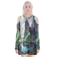 Fantastic World Fantasy Painting Velvet Long Sleeve Shoulder Cutout Dress