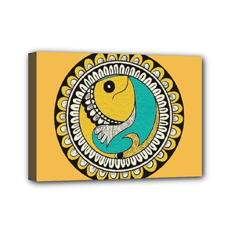 Madhubani Fish Indian Ethnic Pattern Mini Canvas 7  x 5