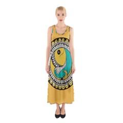 Madhubani Fish Indian Ethnic Pattern Sleeveless Maxi Dress