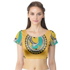 Madhubani Fish Indian Ethnic Pattern Short Sleeve Crop Top (tight Fit)
