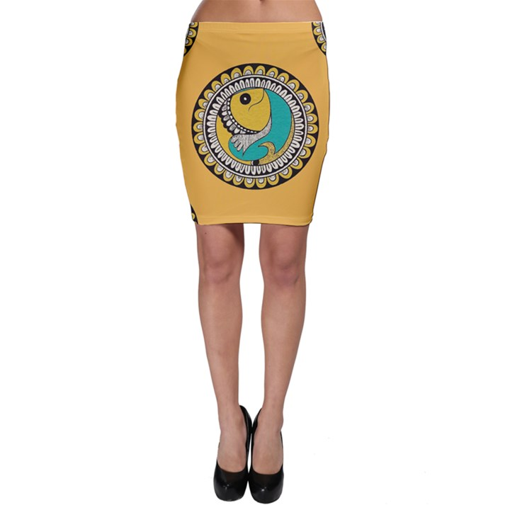 Madhubani Fish Indian Ethnic Pattern Bodycon Skirt