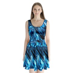 Blue Wave Split Back Mini Dress