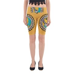 Madhubani Fish Indian Ethnic Pattern Yoga Cropped Leggings