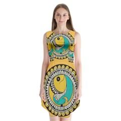 Madhubani Fish Indian Ethnic Pattern Sleeveless Chiffon Dress