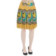 Madhubani Fish Indian Ethnic Pattern Pleated Skirt