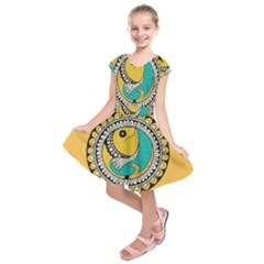 Madhubani Fish Indian Ethnic Pattern Kids  Short Sleeve Dress
