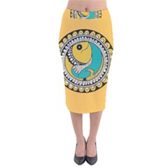 Madhubani Fish Indian Ethnic Pattern Velvet Midi Pencil Skirt