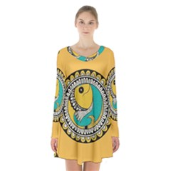 Madhubani Fish Indian Ethnic Pattern Long Sleeve Velvet V Neck Dress