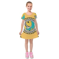 Madhubani Fish Indian Ethnic Pattern Kids  Short Sleeve Velvet Dress