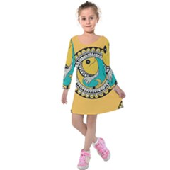 Madhubani Fish Indian Ethnic Pattern Kids  Long Sleeve Velvet Dress