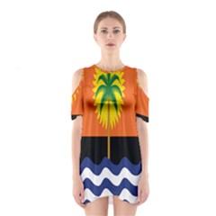 Coconut Tree Wave Water Sun Sea Orange Blue White Yellow Green Shoulder Cutout One Piece