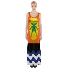 Coconut Tree Wave Water Sun Sea Orange Blue White Yellow Green Maxi Thigh Split Dress