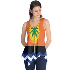 Coconut Tree Wave Water Sun Sea Orange Blue White Yellow Green Sleeveless Tunic