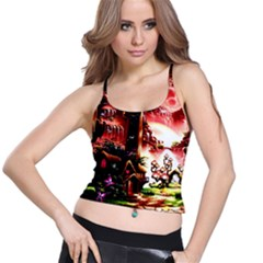 Fantasy Art Story Lodge Girl Rabbits Flowers Spaghetti Strap Bra Top