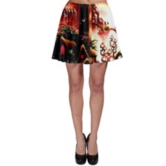 Fantasy Art Story Lodge Girl Rabbits Flowers Skater Skirt