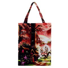 Fantasy Art Story Lodge Girl Rabbits Flowers Classic Tote Bag