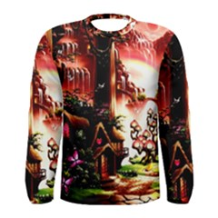 Fantasy Art Story Lodge Girl Rabbits Flowers Men s Long Sleeve Tee