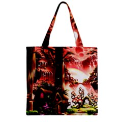 Fantasy Art Story Lodge Girl Rabbits Flowers Zipper Grocery Tote Bag