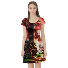 Fantasy Art Story Lodge Girl Rabbits Flowers Short Sleeve Skater Dress