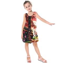 Fantasy Art Story Lodge Girl Rabbits Flowers Kids  Sleeveless Dress