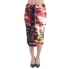 Fantasy Art Story Lodge Girl Rabbits Flowers Velvet Midi Pencil Skirt