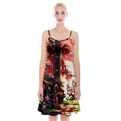 Fantasy Art Story Lodge Girl Rabbits Flowers Spaghetti Strap Velvet Dress
